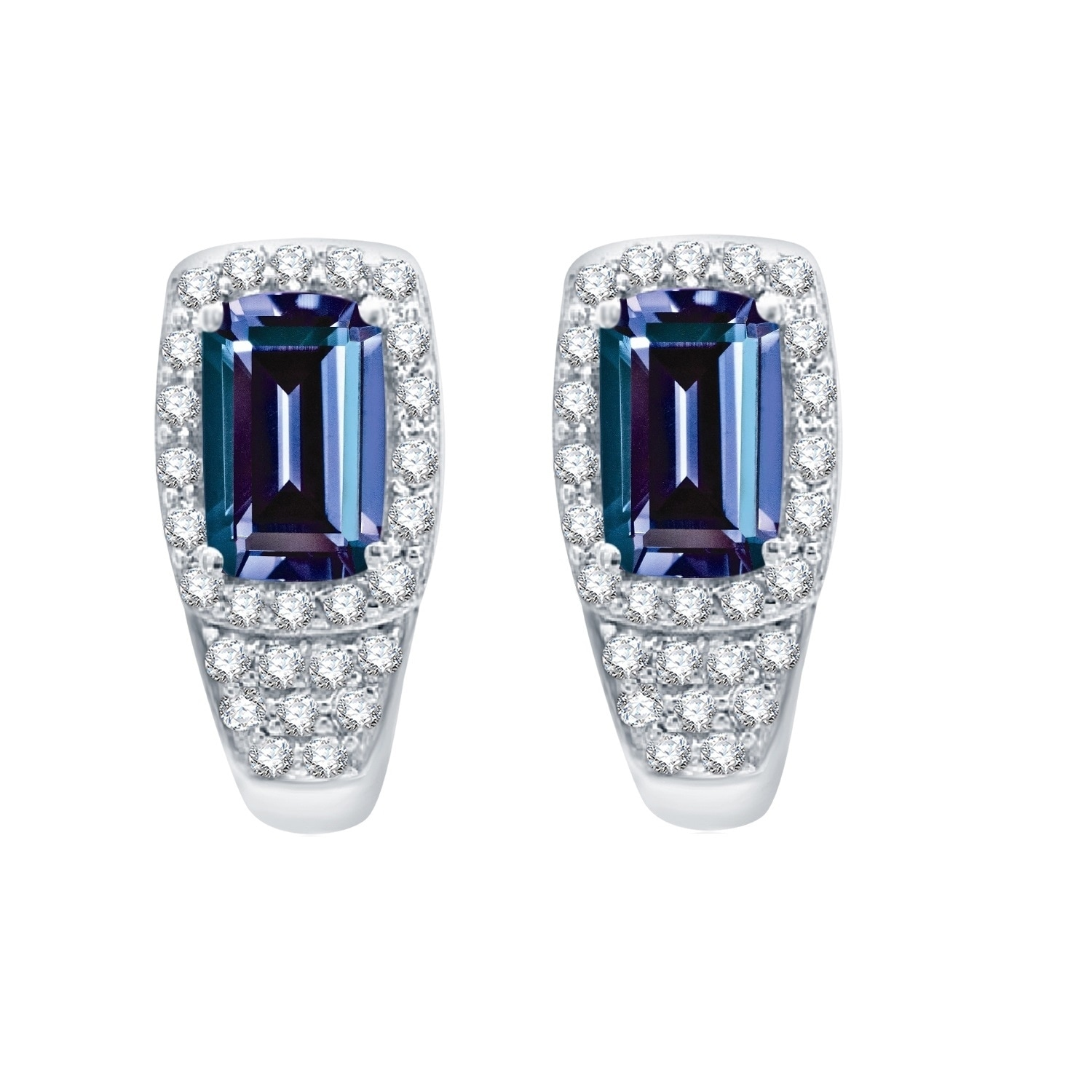 925 Silver Simulated Alexandrite Round Dangle Halo Earrings with White Topaz