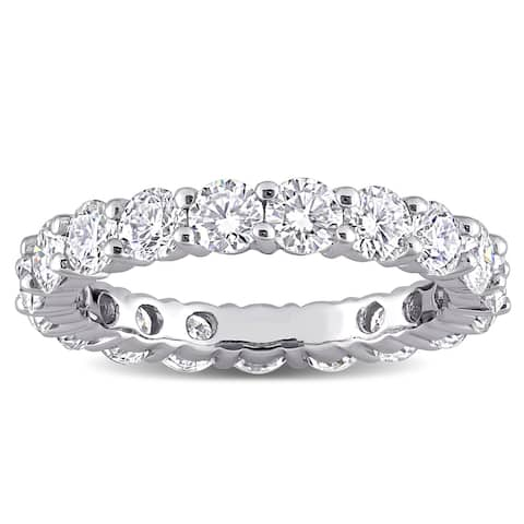 Round 3 1/10ct TGW Moissanite Full Eternity Band in 10k White Gold by Miadora
