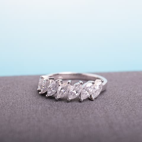 Miadora 3 1/2ct DEW Marquise-Cut Moissanite Semi-Eternity Ring in 10k White Gold