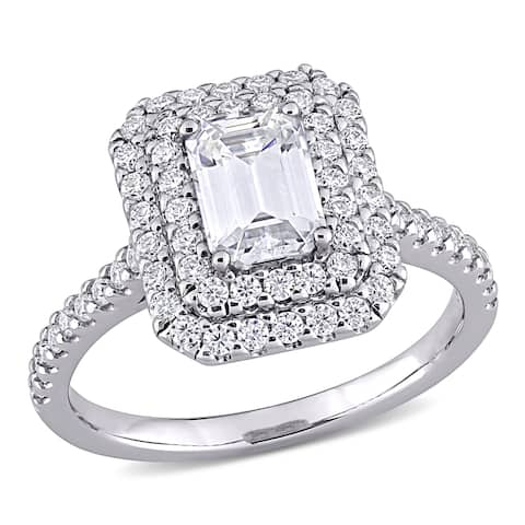 Moissanite by Miadora 10k White Gold 1 5/8 CT TGW Emerald-Cut Moissanite Halo Engagement Ring