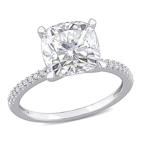 Cushion-Cut Moissanite & 1/10ct TDW Diamond Engagement Ring in 14k White Gold by Miadora