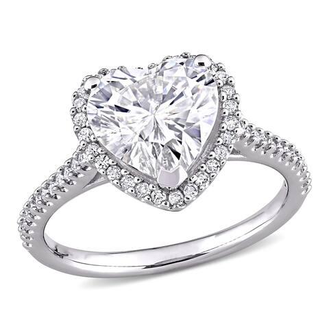 Moissanite by Miadora 14k White Gold Moissanite & 1/4ct TDW Diamond Heart Halo Engagement Ring