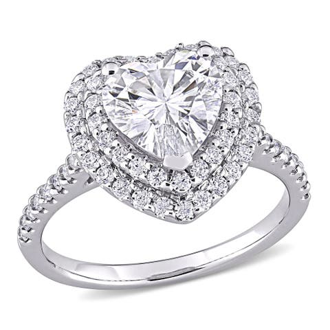 Moissanite by Miadora 10k White Gold 2 5/8 CT TGW Moissanite Double Heart Halo Engagement Ring