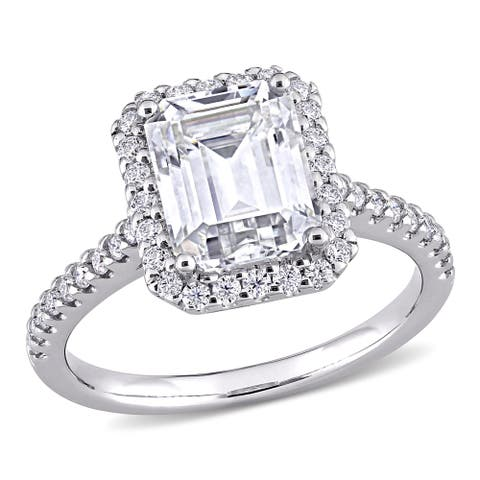 Moissanite by Miadora 10k White Gold 3 2/5 CT TGW Emerald-Cut Moissanite Halo Engagement Ring