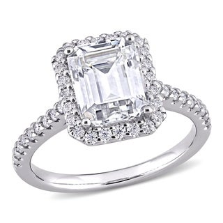Link to Moissanite by Miadora 10k White Gold  3 2/5 CT TGW Emerald-Cut Moissanite Halo Engagement Ring Similar Items in Rings