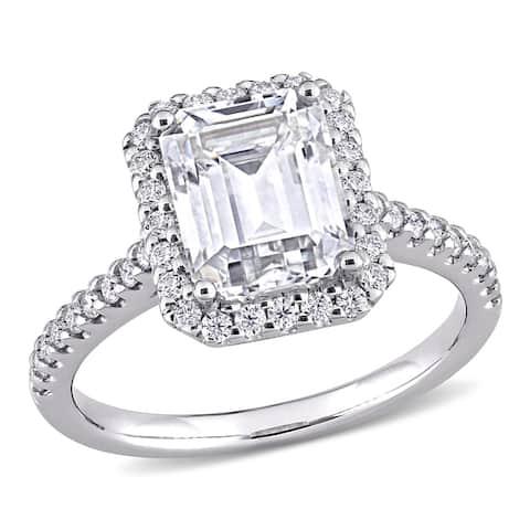Moissanite by Miadora 10k White Gold 3 2/5 CT TGW Emerald-Cut Moissanite Halo Engagement Ring