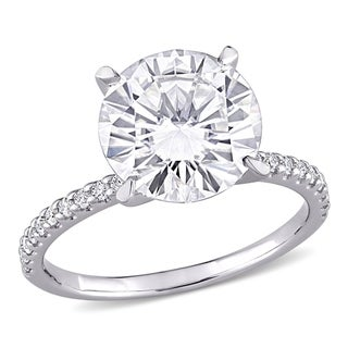 Link to Moissanite by Miadora 10k White Gold 4 1/5ct TGW Moissanite Engagement Ring Similar Items in Rings
