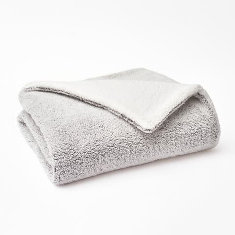 """Vellux Back Printed Sherpa 50""""W x 60""""L Gray Throw"""