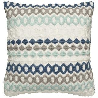 "LR Home Blue Toned Geometric Pillow 18"" x 18"""