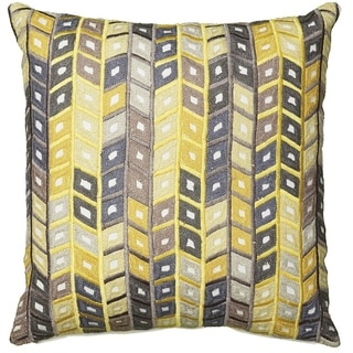 """LR Home Yellow and Gray Geometric Pillow 18"""" x 18"""""""