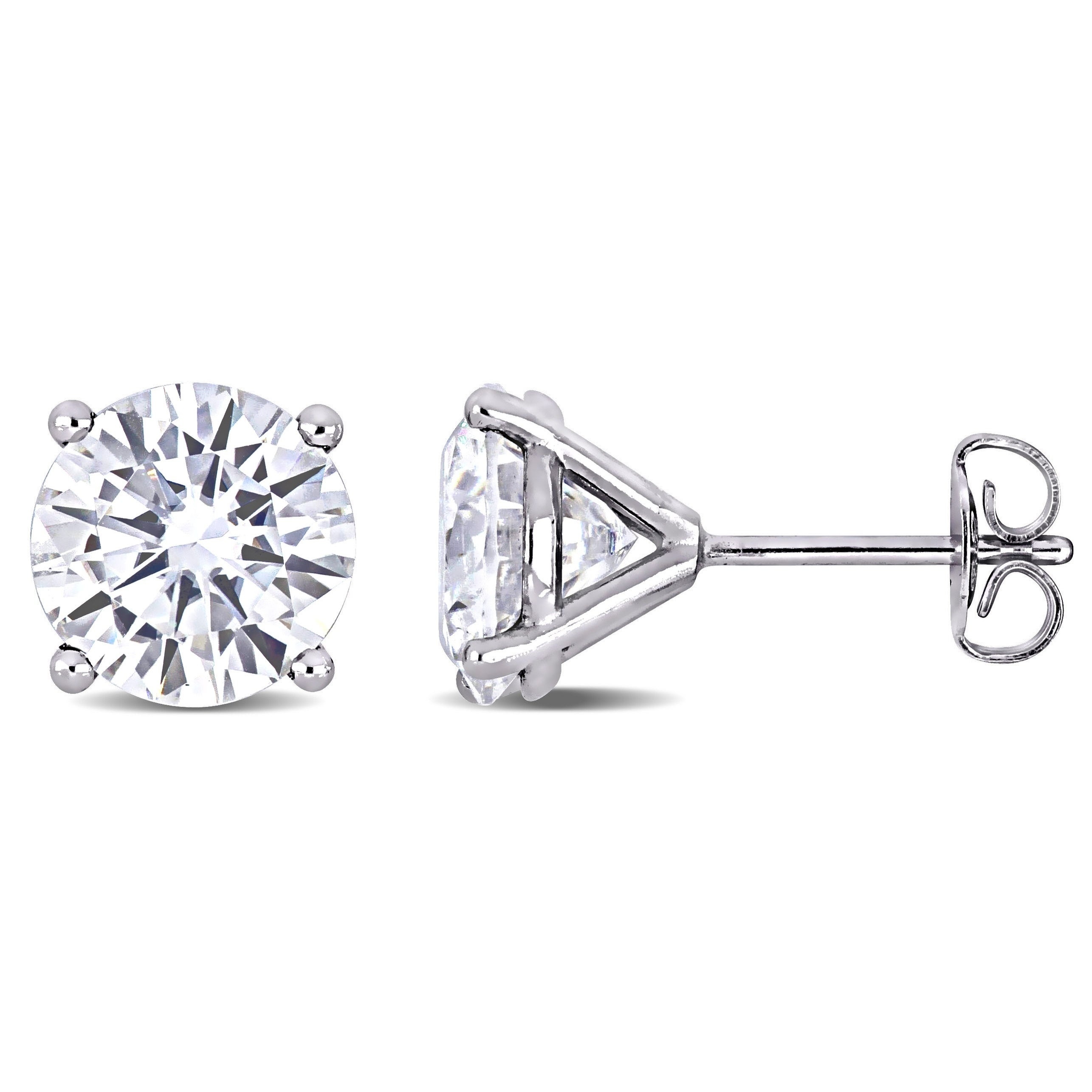 14K White Gold Finish 2Ct Round Cut Moissanite Push Back Solitaire Stud Earrings