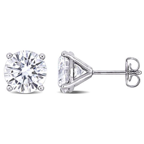 Moissanite by Miadora 14k White Gold 4ct TGW Moissanite Solitaire Stud Earrings