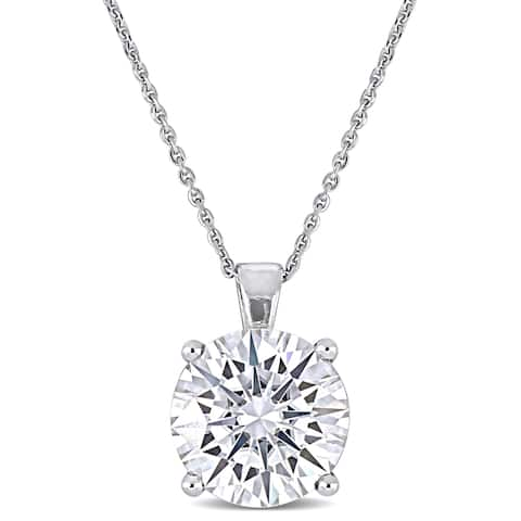 Miadora 3 1/2ct DEW Moissanite Solitaire Necklace in 14k White Gold - 14 mm x 17 in x 10 mm
