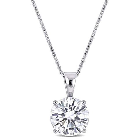 Miadora 2ct DEW Moissanite Solitaire Necklace in 14k White Gold - 13 mm x 17 in x 8 mm