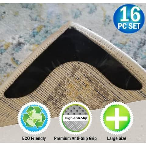 Reusable V Shaped Corner Area Carpet Rug Grippers - Reusable Rubber Anti Curling Non Slip Skid Pads - 16pc Set