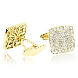 18K Gold & Round Diamond Designer Cufflinks Mens 3.7ctw G-H Color VS1-VS2 Clarity by Luxurman