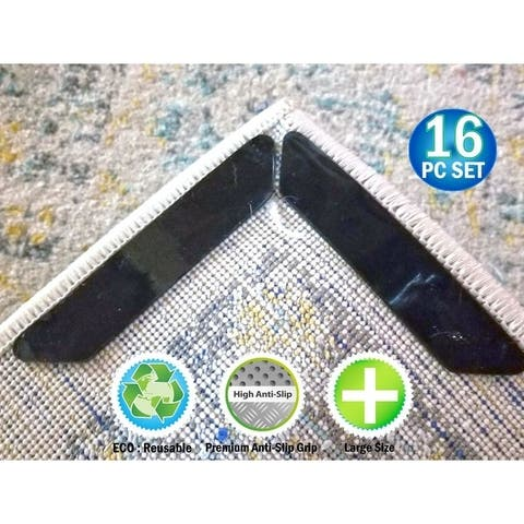 Reusable Carpet Rug Grippers Strips - Reusable Rubber Anti Curling Non Slip Skid Pads - 16pc Set - 2' x 6' Runner
