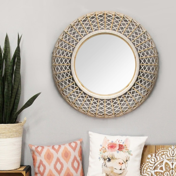 The Curated Nomad 33.5-inch Woven Rattan Wall Mirror