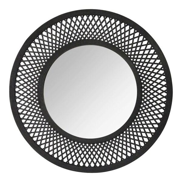 """Stratton Home Decor 38"""" Andi Black Woven Rattan Mirror"""