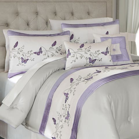Croscill Nicola Butterfly Embroidered 4 Piece Comforter Sets