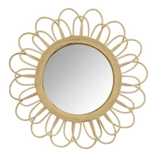 The Curated Nomad 18.25-inch Sunburst Rattan Wall Mirror