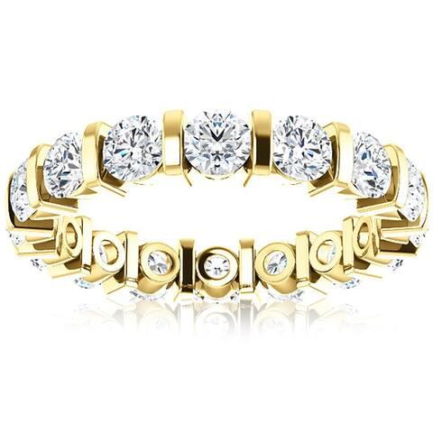 14k Yellow Gold 2 1/2 Ct Diamond Eternity Rinr Bar Set Lab Grown Eco Friendly