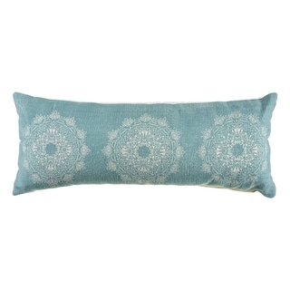The Curated Nomad Ornate Teal Tri-medallion 36-inch Lumbar Pillow