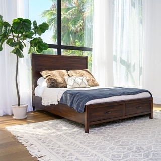 Abbyson Larson Distressed Wood Storage Bed, Brown.