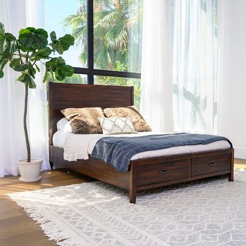 Abbyson Larson Distressed Wood Storage Bed, Brown.
