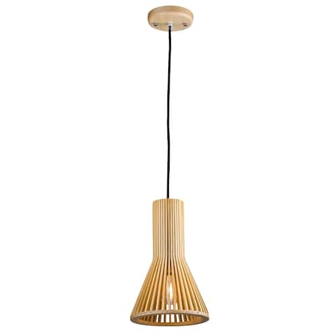 Mini Pendant Light with Wood Cage Frame