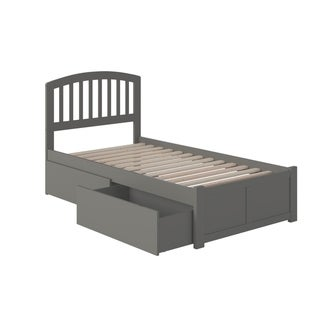 Richmond Twin Platform Bed with Flat Panel Foot Board and 2 Urban Bed Drawers in Grey