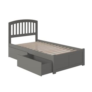 Richmond Twin XL Platform Bed with Flat Panel Foot Board and 2 Urban Bed Drawers in Grey
