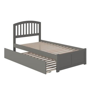 Richmond Twin Platform Bed with Flat Panel Foot Board and Twin Size Urban Trundle Bed in Grey
