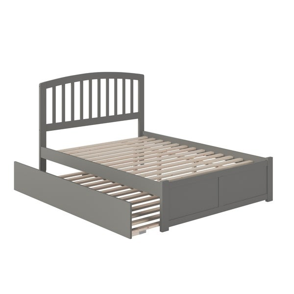 Richmond Full Platform Bed with Flat Panel Foot Board and Twin Size Urban Trundle Bed in Grey
