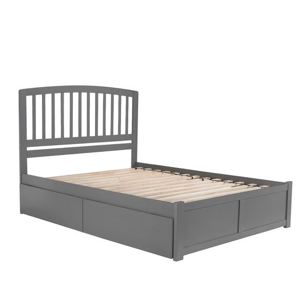 Shop Richmond Queen Platform Bed With Flat Panel Foot Board And 2 Urban Bed Drawers In Grey On Sale Overstock 29358041