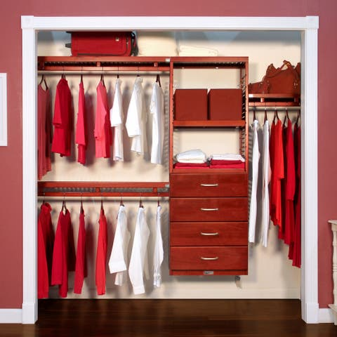 John Louis Home 12in. Deep Solid Wood 4-Drawer Simplicity Closet Organizer Red Mahogany