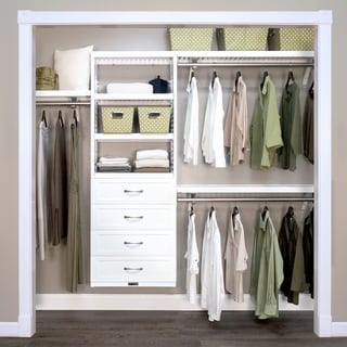 Porch & Den Hendrickson White Wood 4-Drawer 12-inch Deep Closet Organizer
