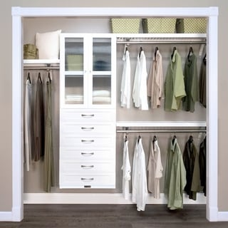 John Louis Home 12in. Deep Solid Wood 6-Drawer/Doors Woodcrest Premier Closet Organizer White