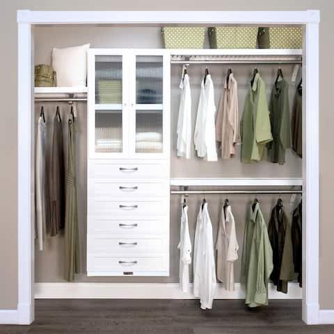 John Louis Home 12in. Deep Solid Wood 6-Drawer/Doors Woodcrest Premier Closet Organizer White