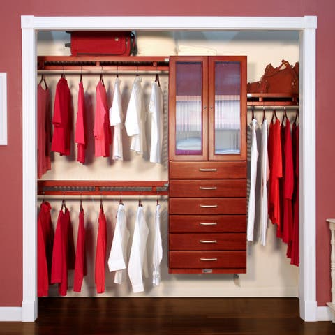 John Louis Home 12in. Deep Solid Wood 6-Drawer/Doors Simplicity Closet Organizer Red Mahogany