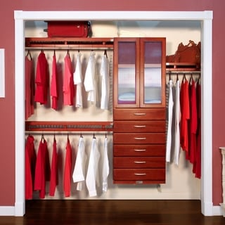 John Louis Home 12in. Deep Solid Wood 6-Drawer/Doors Simplicity Closet Organizer Red Mahogany