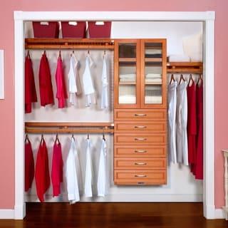 John Louis Home 12in. Deep Solid Wood 6-Drawer/Doors Woodcrest Simplicity Closet Organizer Caramel