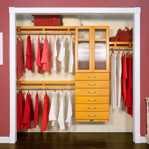 John Louis Home 12in. Deep Solid Wood 6-Drawer/Doors Simplicity Closet Organizer Honey Maple