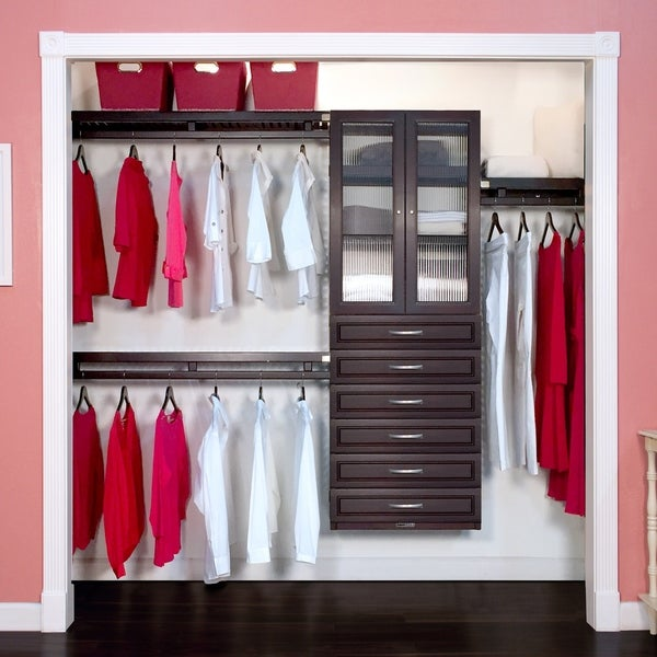 John Louis Home 12in. Deep Solid Wood 6-Drawer/Doors Woodcrest Simplicity Closet Organizer Caramel