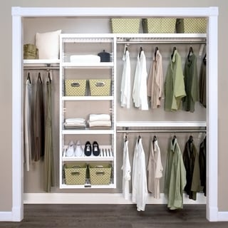 John Louis Home 12 in. Deep Solid Wood Woodcrest Premier Closet Organizer White