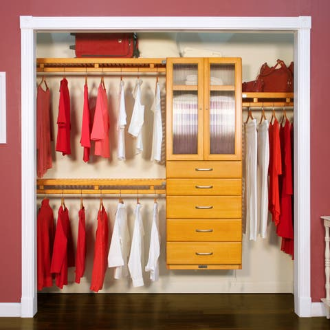 John Louis Home 12in. Deep Solid Wood 5-Drawer/Doors Simplicity Closet Organizer Honey Maple