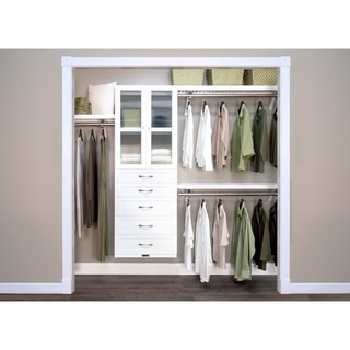 John Louis Home 12in. Deep Solid Wood 5-Drawer/Doors Woodcrest Premier Closet Organizer White