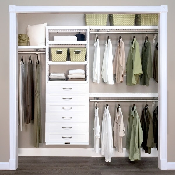 John Louis Home 12in. Deep Solid Wood 6-Drawer Woodcrest Premier Closet Organizer White