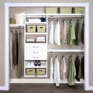 John Louis Home 12in. Deep Solid Wood 3-Drawer Woodcrest Premier Closet Organizer White