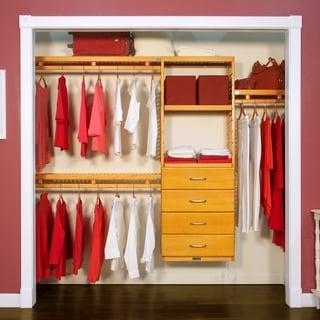 John Louis Home 12in. Deep Solid Wood 4-Drawer Simplicity Closet Organizer Honey Maple